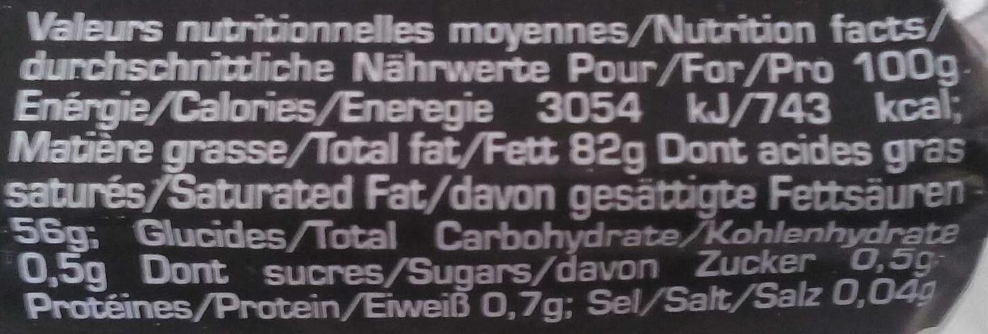 Beurre Doux - Informations nutritionnelles - fr