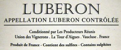 Vin rosé L'Aiguebrun  Appellation Lubéron Contrôlée 3L - Ingredientes