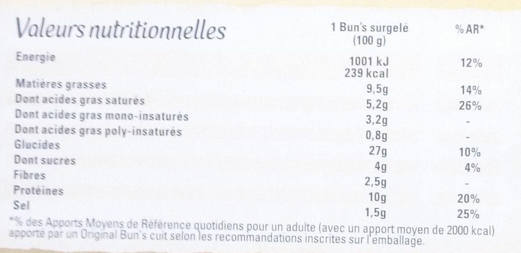 Original Bun's Bolognaise - Nutrition facts