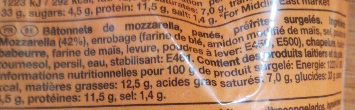 Mccain Frozen Mozzarella Cheese Sticks - Ingredienti - fr