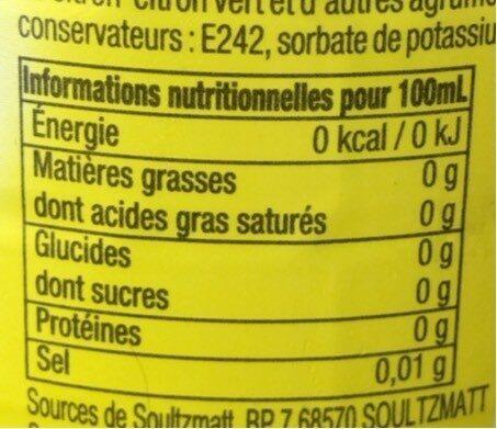 Lisbeth citron - Informations nutritionnelles - fr