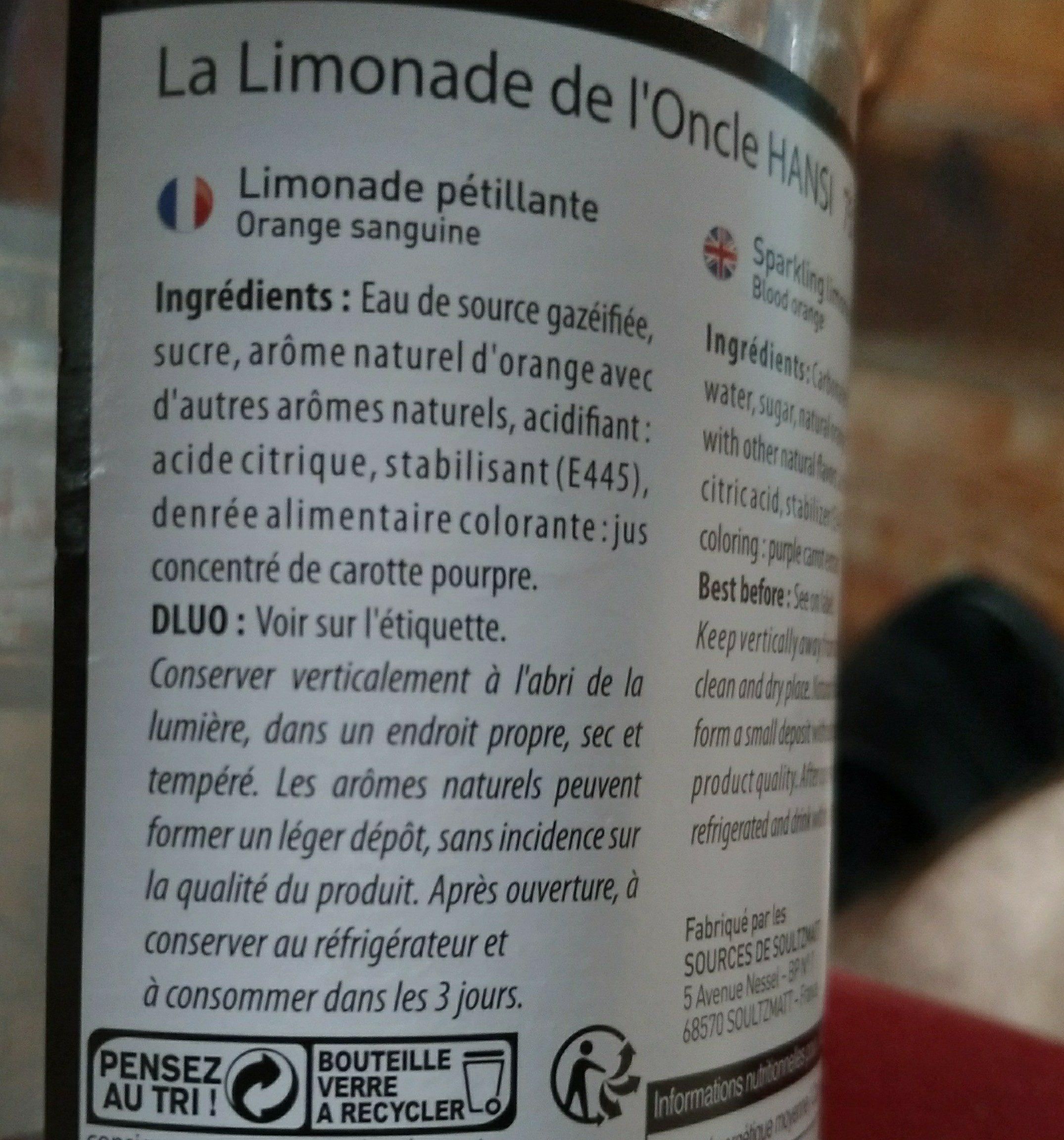 Limonade Orange Sanguine - Ingrédients