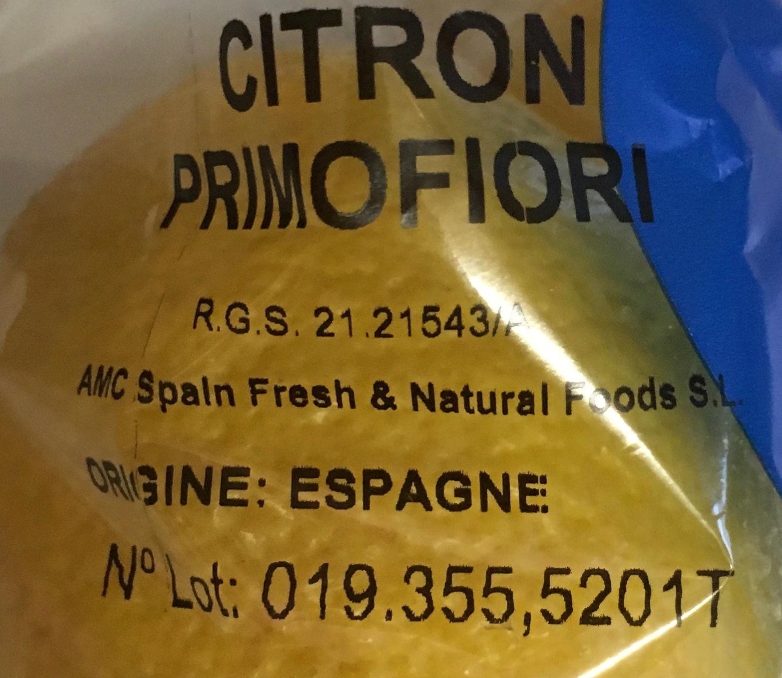 Citrons non traités après récolte - Ingrédients - fr