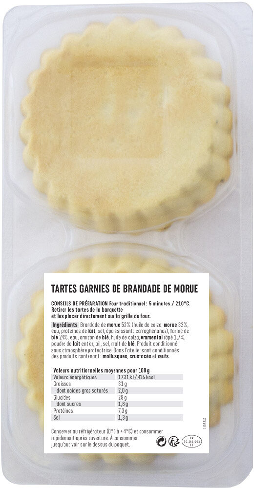 Tartes brandade - Nutrition facts