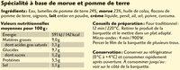 Brandade de morue parmentière Coudène - Informations nutritionnelles - fr