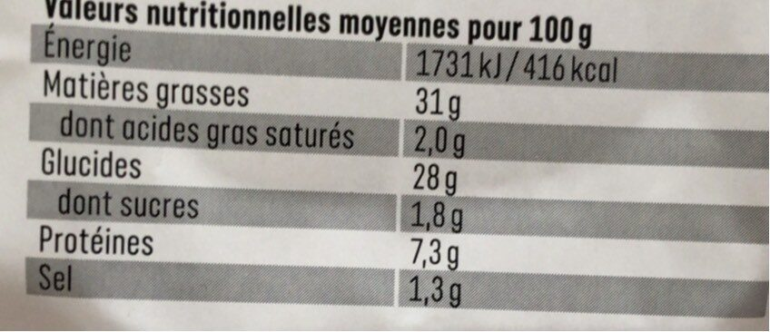 Tartes brandade - Nutrition facts - fr