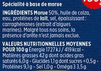 Brandade de morue Coudène - Ingrediënten