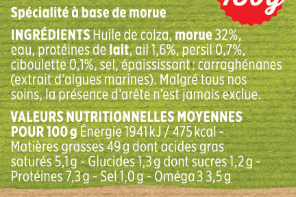 Brandade ail et fines herbes Coudène - Ingredients