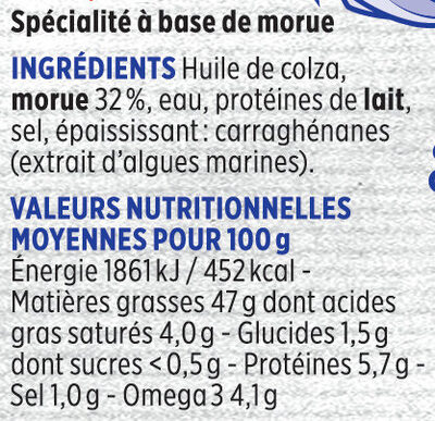 Brandade de morue Monsieur Madame Coudène - Ingredients