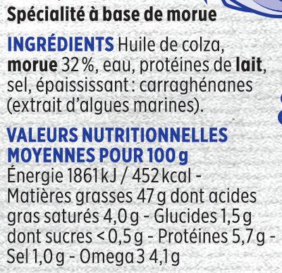 Brandade de morue Monsieur Madame Coudène - Nutrition facts