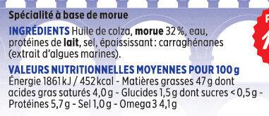 Brandade de morue Coudène - Voedigswaarden