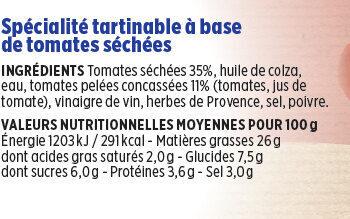 Délice de tomates séchées Coudène - Nutrition facts
