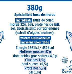 Brandade de morue Coudène - Nutrition facts