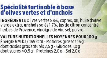 Tapenade verte Coudène - Nutrition facts