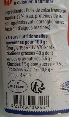 La Brandade de Morue - Informations nutritionnelles - fr