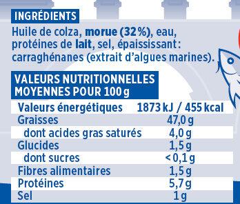 Brandade de morue Coudène - Nutrition facts
