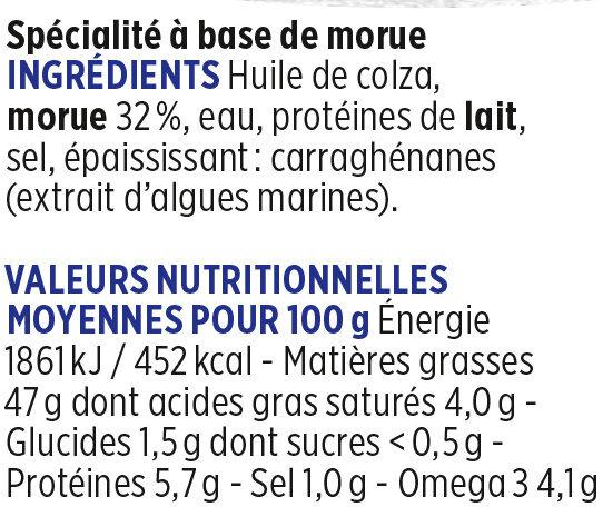 Brandade de morue fraîche Coudène - Nutrition facts