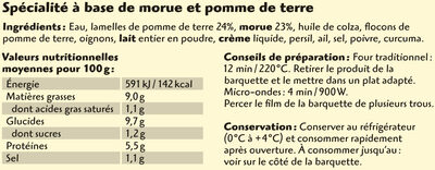 Coudène brandade de morue parmentier - Ingrédients - fr