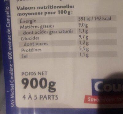 Coudène brandade de morue parmentier - Informations nutritionnelles - fr