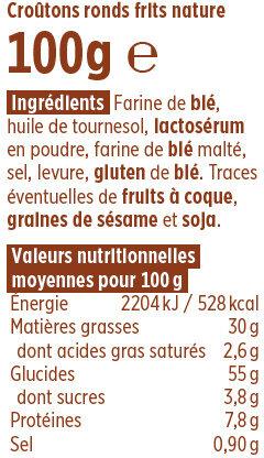 Croûtons ronds frits nature Coudène - Ingredients