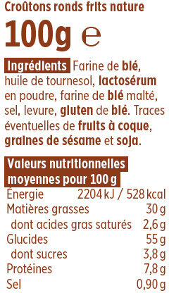 Croûtons ronds frits nature Coudène - Nutrition facts