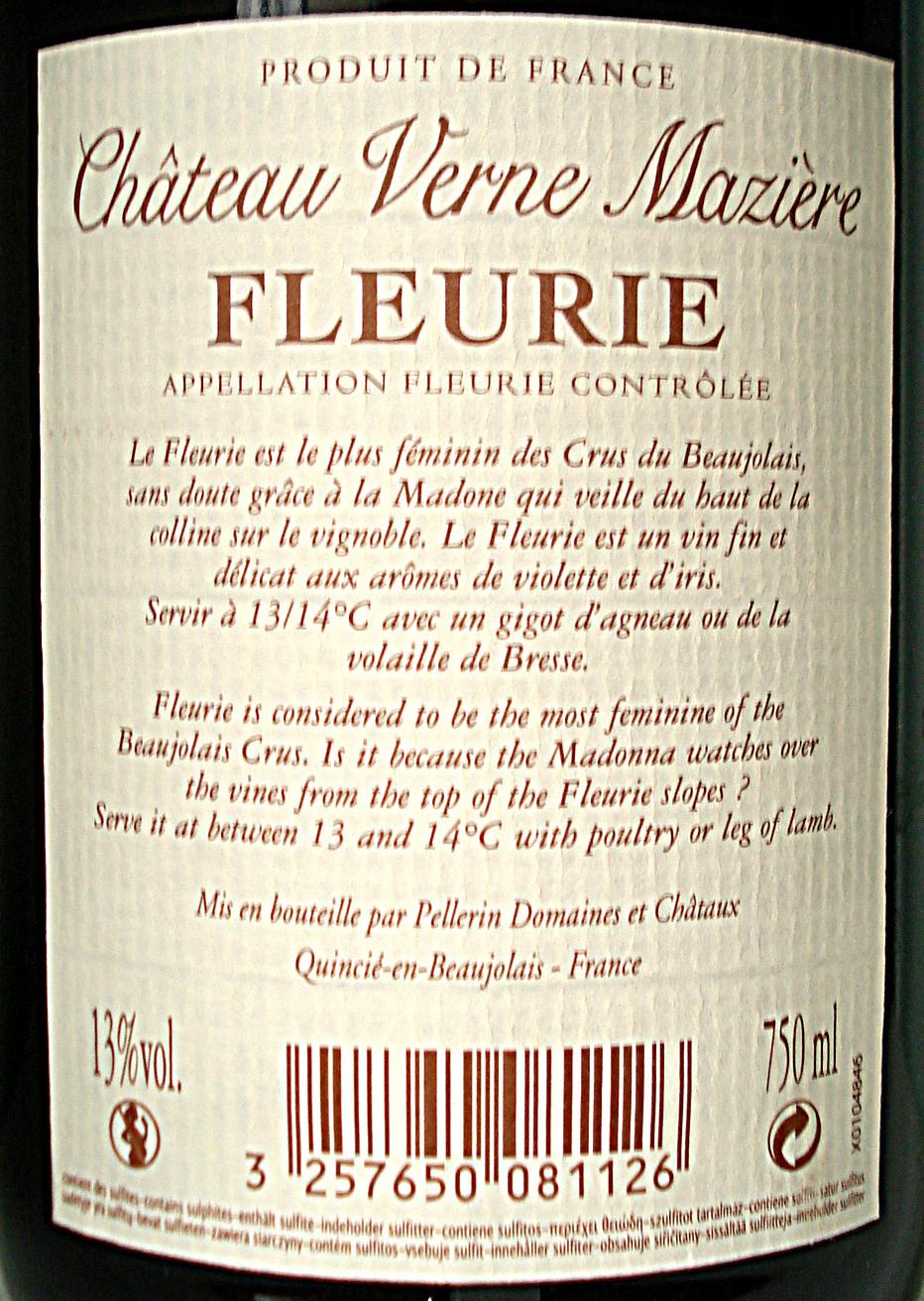 Fleurie Chateau Verne Mazière 2011 - Ingrédients