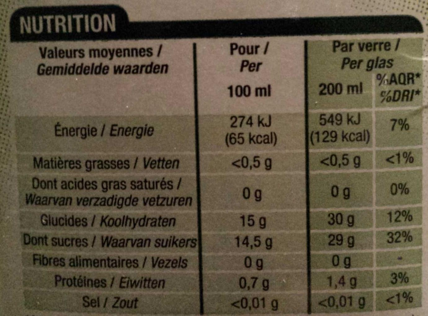 100 % pur jus, Raisin - Voedingswaarden - fr