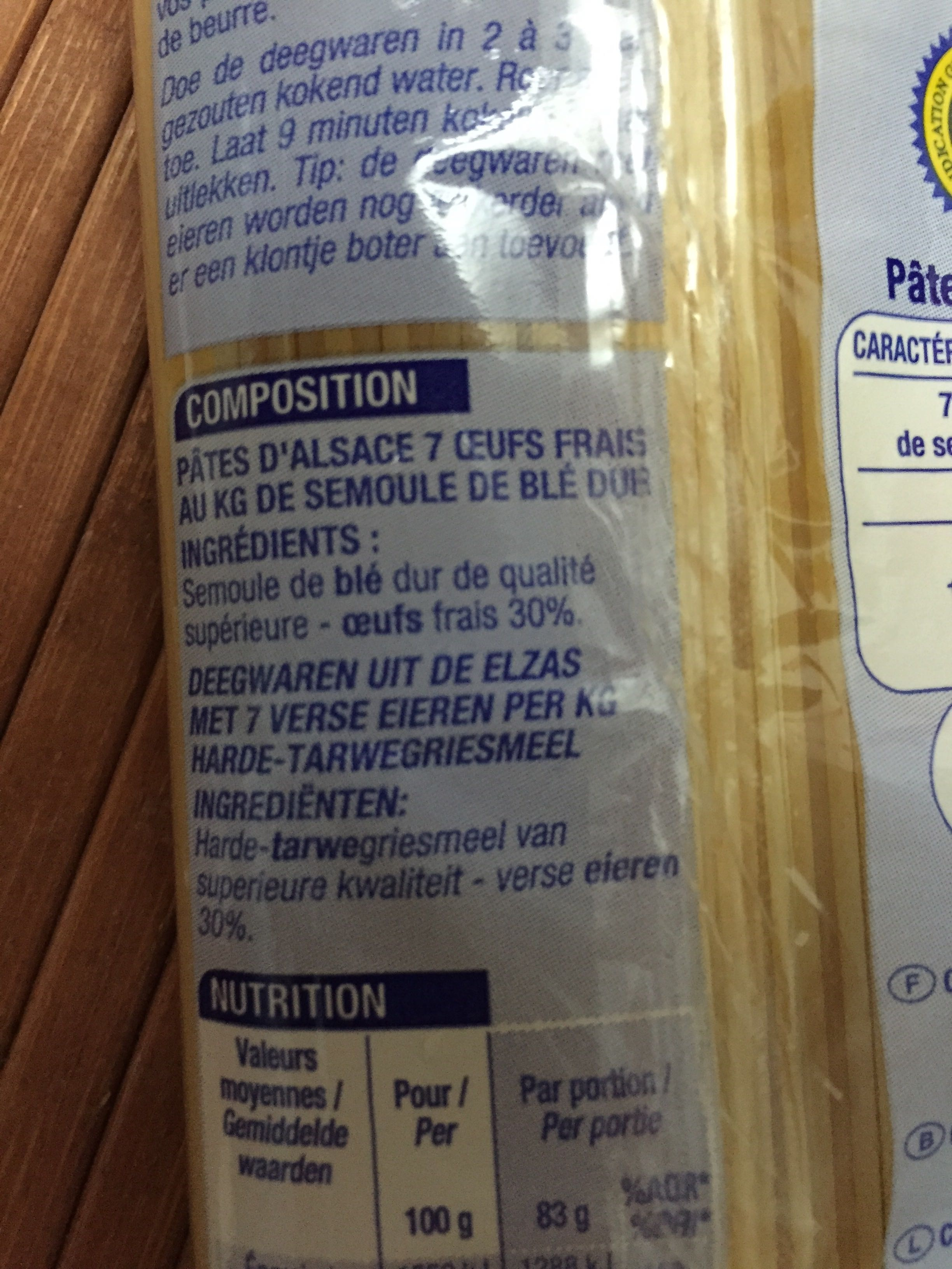 Pâtes d'Alsace, Spaghetti - Ingrédients - fr