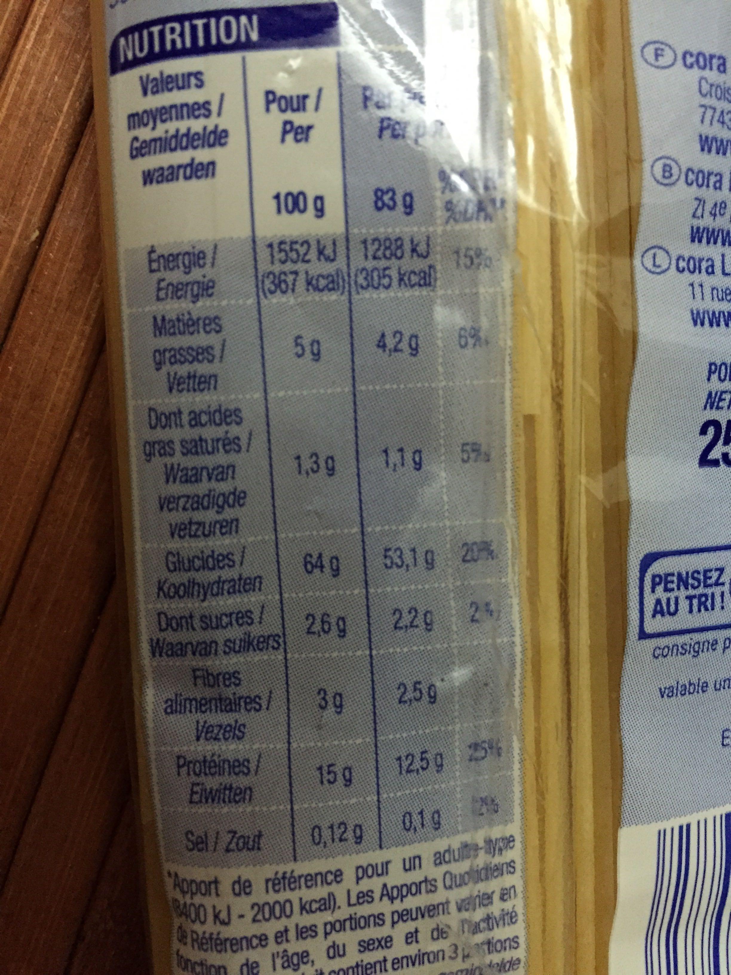 Pâtes d'Alsace, Spaghetti - Informations nutritionnelles - fr