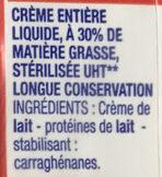 Crème liquide entière 30% MG - Ingrédients - fr