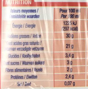 Crème liquide entière 30% MG - Informations nutritionnelles - fr