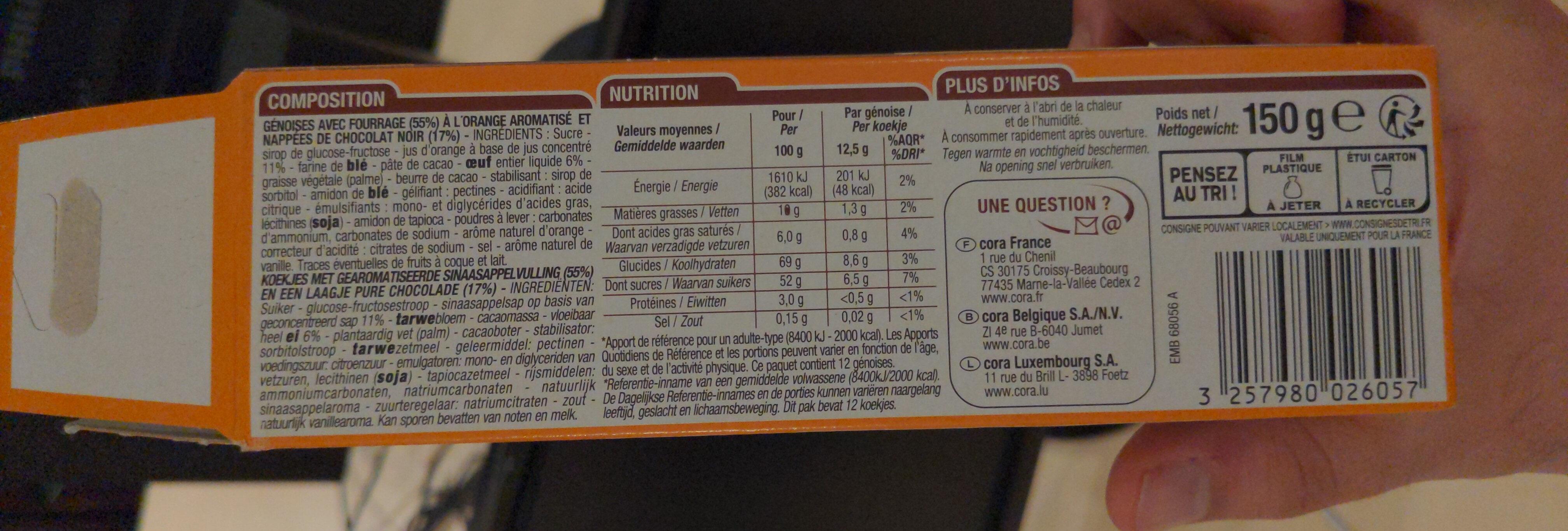 Génoises fourrées Orange - Ingredients - fr