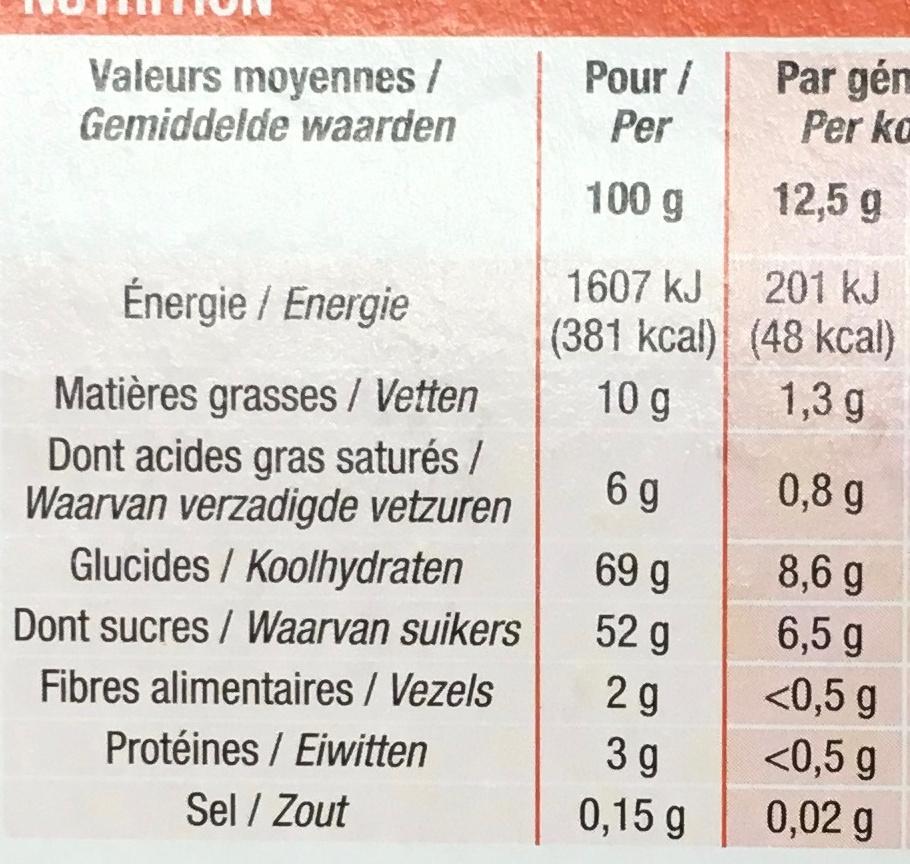 Génoises fourrées Orange - Nutrition facts - fr
