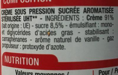 Crème entière sucrée - Ingredients - fr