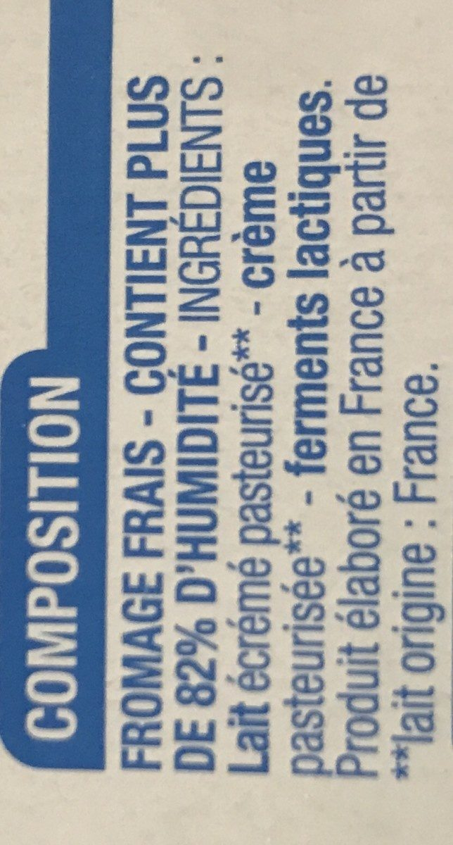 Fromage frais (3,2% MG) - Ingrédients - fr