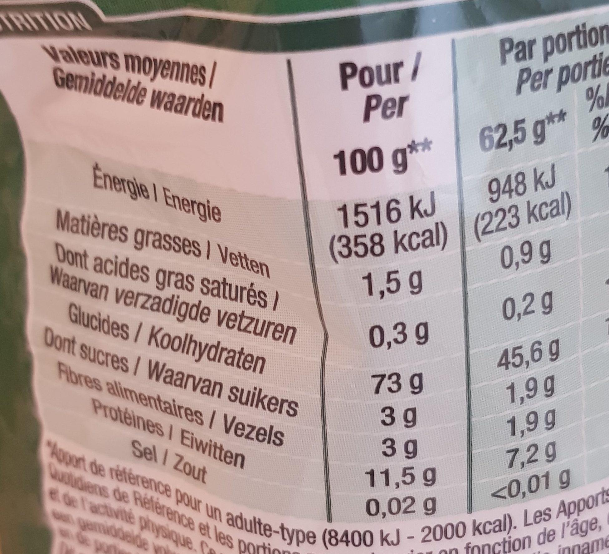 Macaroni 1 Kilo - Valori nutrizionali - fr