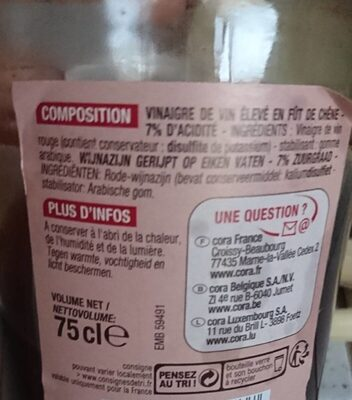 Vieux Vinaigre De Vin, Bouteille 75 Centilitres, Marque Cora - Informations nutritionnelles - fr