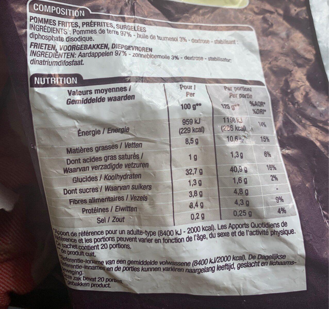 Frites Classiques, 2, 5 Kilos, Marque Cora - Informations nutritionnelles - fr