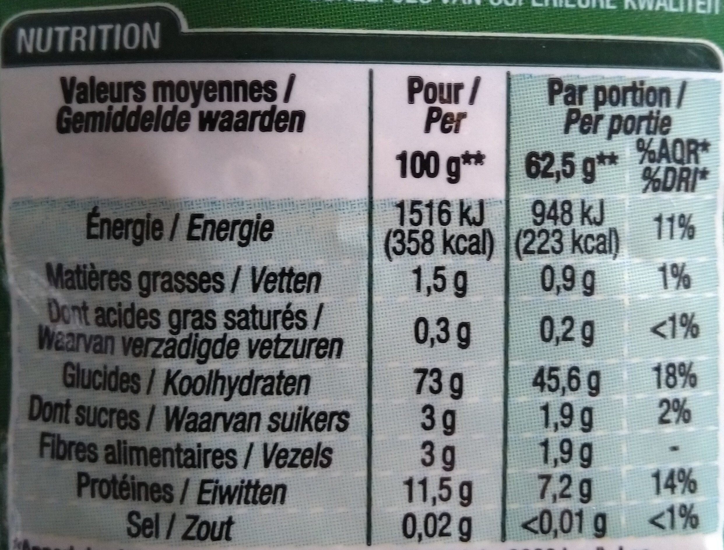 Coquillettes - Informations nutritionnelles