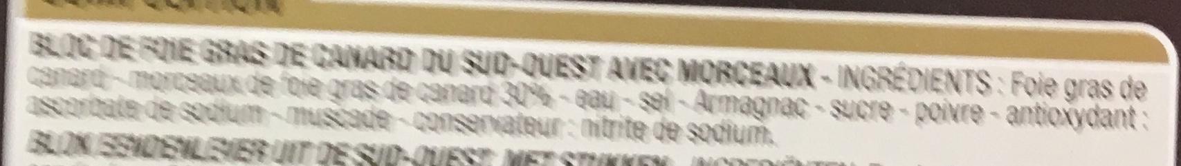 Bloc de Foie gras de canard du Sud-Ouest - Ingredients