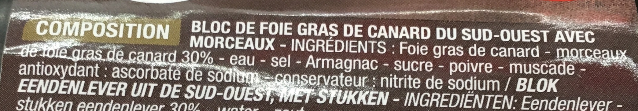 Bloc de Foie gras de canard du Sud-Ouest - Ingrediënten - fr