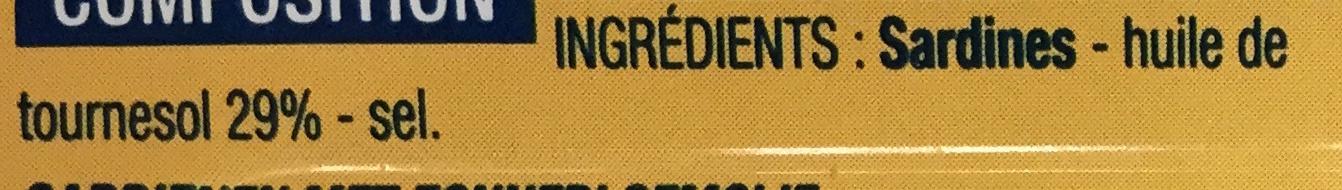 Sardines à l'huile de tournesol - Ingrédients - fr