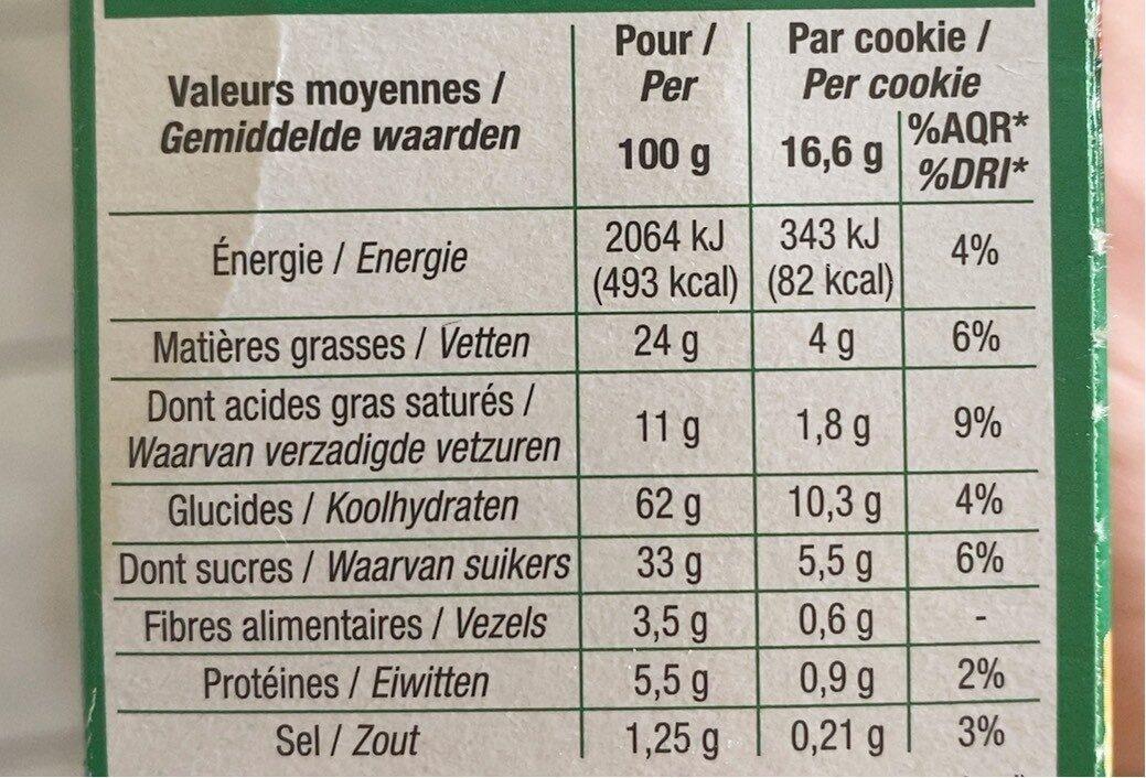 Cookies pepites de chocolat nougatine - Informations nutritionnelles - fr