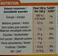 Crème caramel dorée au four - Informations nutritionnelles - fr