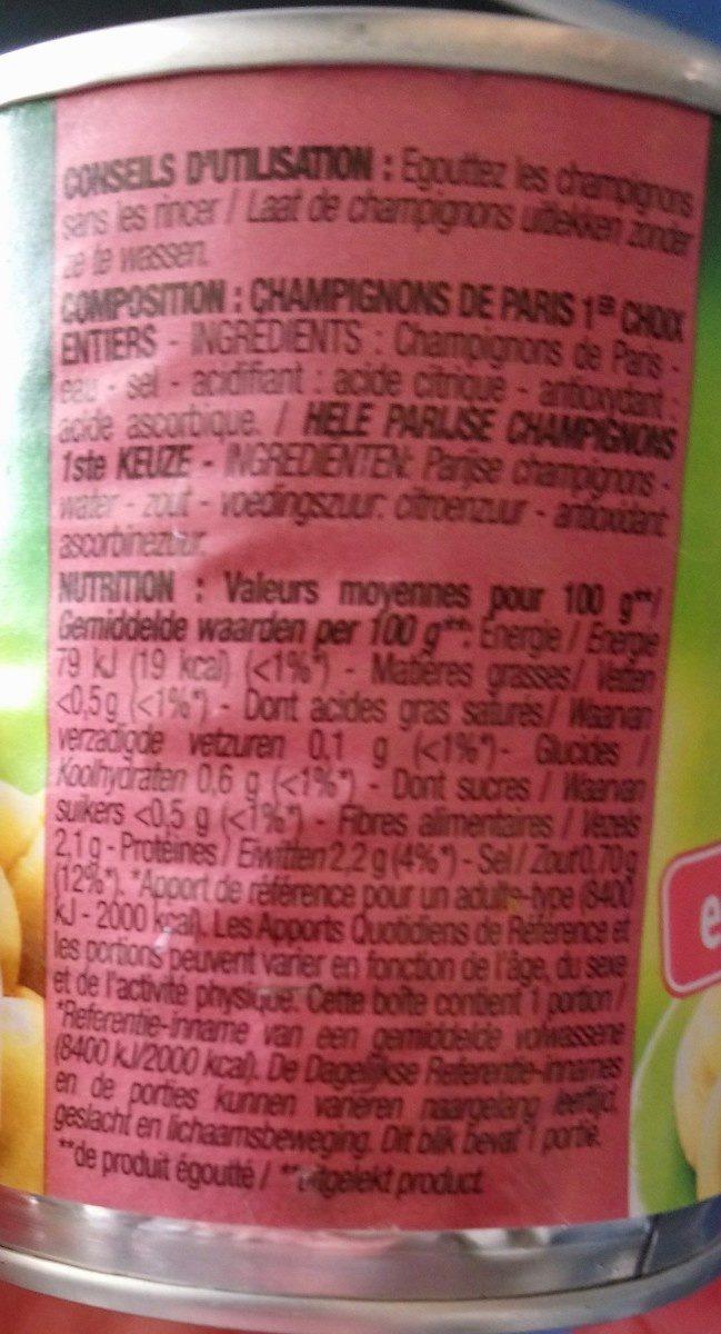 Champignons de Paris 1er choix - Ingredients