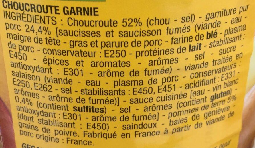 Choucroute - Ingrédients