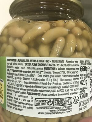 Flageolets Verts Extra Fins, Bocal De 420 Grammes, Marque Cora - Ingredients - fr