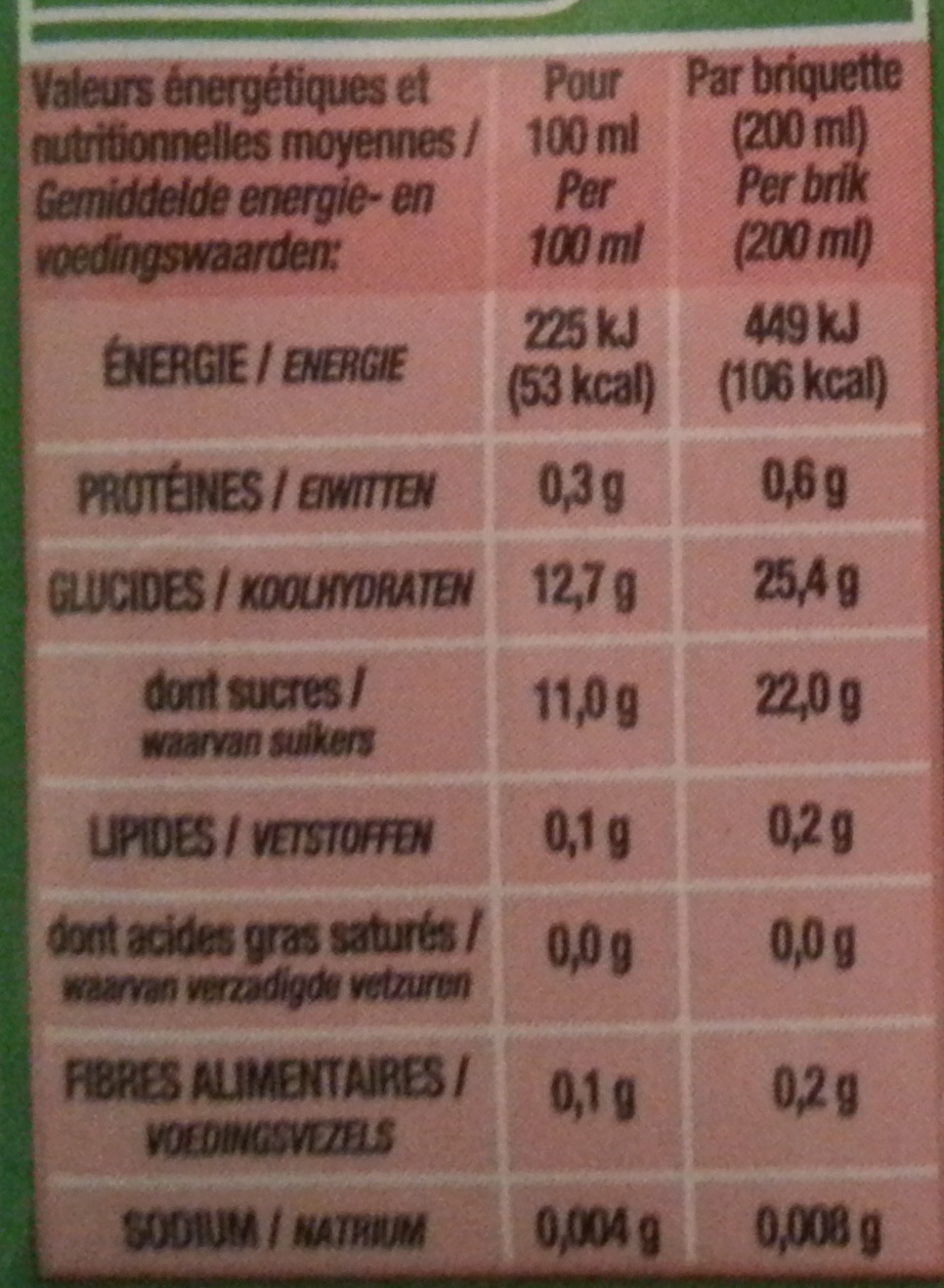 Jus Ananas - Informations nutritionnelles - fr