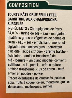 Tourte Aux Champignons, 500 Grammes, Marque Cora - Ingrédients - fr