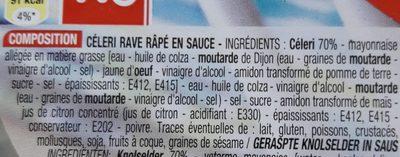 Céleri Rémoulade, 300 Grammes, Marque Cora - Ingredients